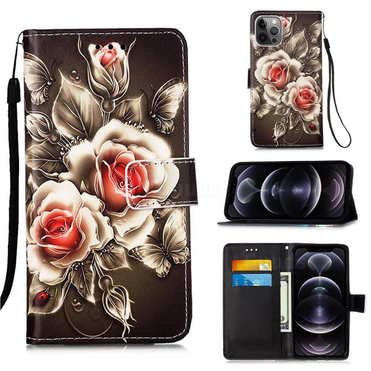 Black Rose Matte Leather Wallet Phone Case for iPhone 12 Pro Max (6.7 inch)