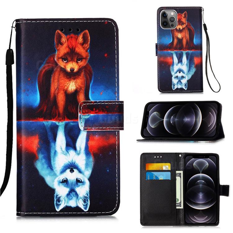 Water Fox Matte Leather Wallet Phone Case for iPhone 12 Pro Max (6.7 inch)