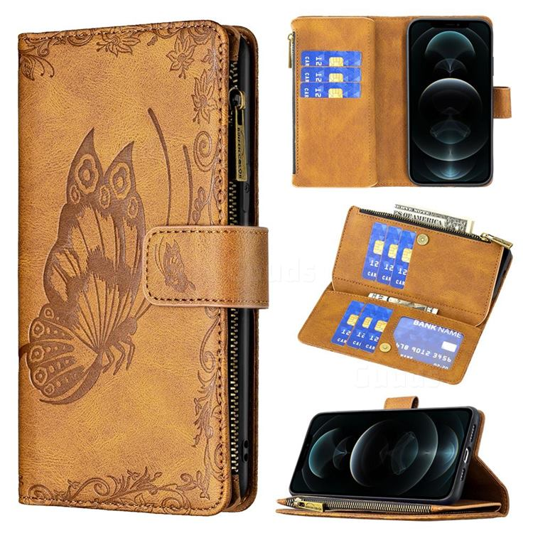 Binfen Color Imprint Vivid Butterfly Buckle Zipper Multi-function Leather Phone Wallet for iPhone 12 Pro Max (6.7 inch) - Brown