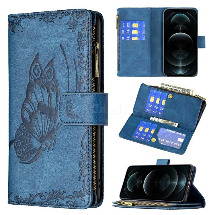 Binfen Color Imprint Vivid Butterfly Buckle Zipper Multi-function Leather Phone Wallet for iPhone 12 Pro Max (6.7 inch) - Blue
