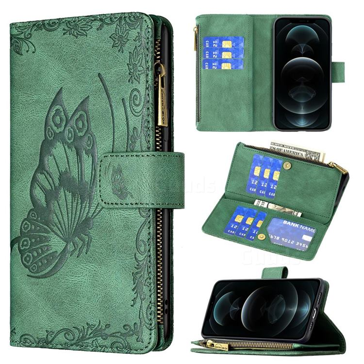 Binfen Color Imprint Vivid Butterfly Buckle Zipper Multi-function Leather Phone Wallet for iPhone 12 Pro Max (6.7 inch) - Green