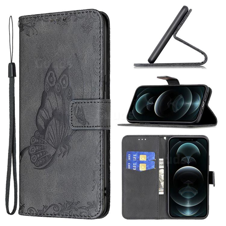 Binfen Color Imprint Vivid Butterfly Leather Wallet Case for iPhone 12 Pro Max (6.7 inch) - Black