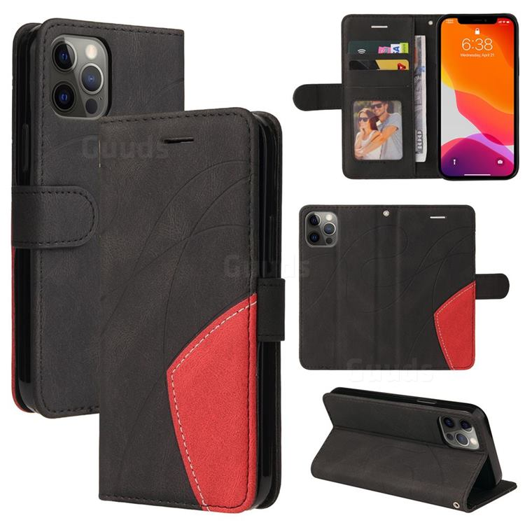 Luxury Two-color Stitching Leather Wallet Case Cover for iPhone 12 Pro Max (6.7 inch) - Black