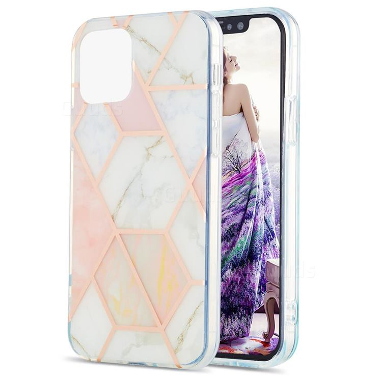 Pink White Marble Pattern Galvanized Electroplating Protective Case Cover for iPhone 13 (6.1 inch)
