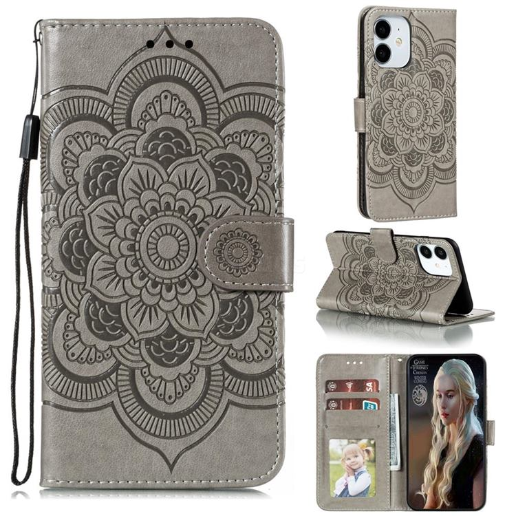 Intricate Embossing Datura Solar Leather Wallet Case for iPhone 13 (6.1 inch) - Gray