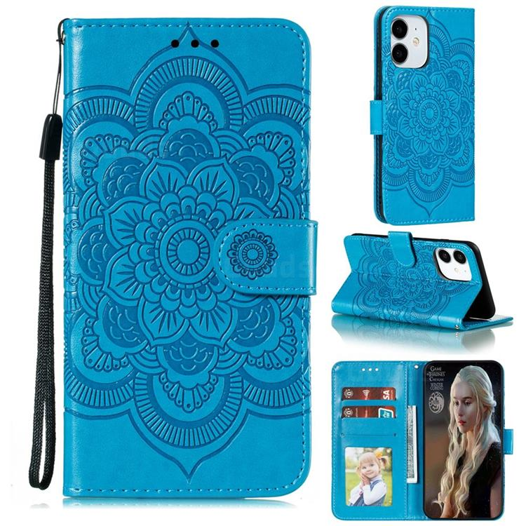 Intricate Embossing Datura Solar Leather Wallet Case for iPhone 13 (6.1 inch) - Blue