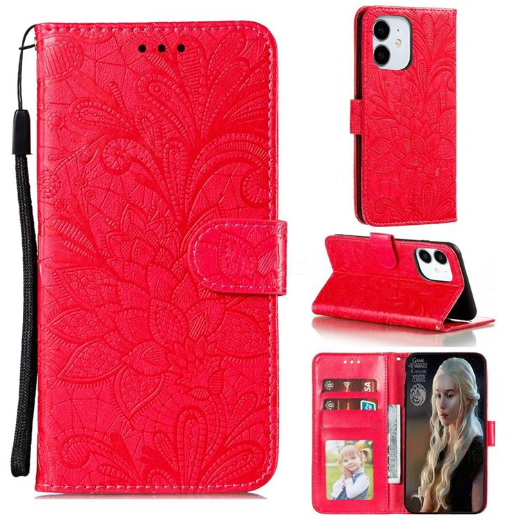 Intricate Embossing Lace Jasmine Flower Leather Wallet Case for iPhone 13 (6.1 inch) - Red