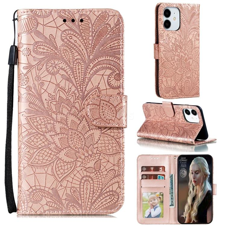 Intricate Embossing Lace Jasmine Flower Leather Wallet Case for iPhone 13 (6.1 inch) - Rose Gold