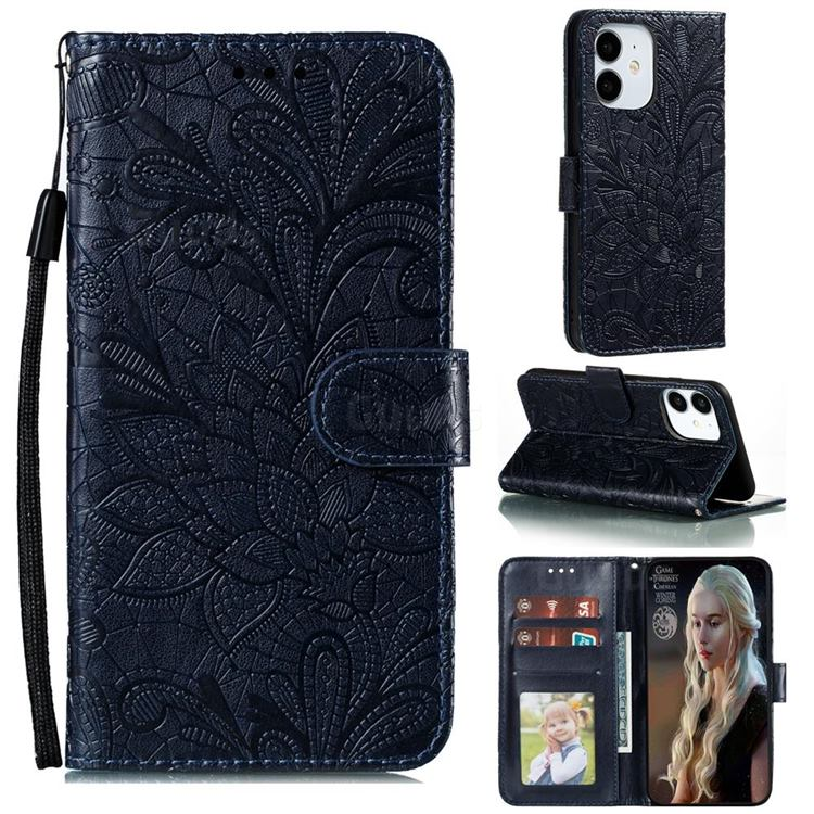 Intricate Embossing Lace Jasmine Flower Leather Wallet Case for iPhone 13 (6.1 inch) - Dark Blue