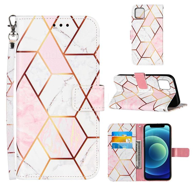 Pink White Stitching Color Marble Leather Wallet Case for iPhone 13 (6.1 inch)