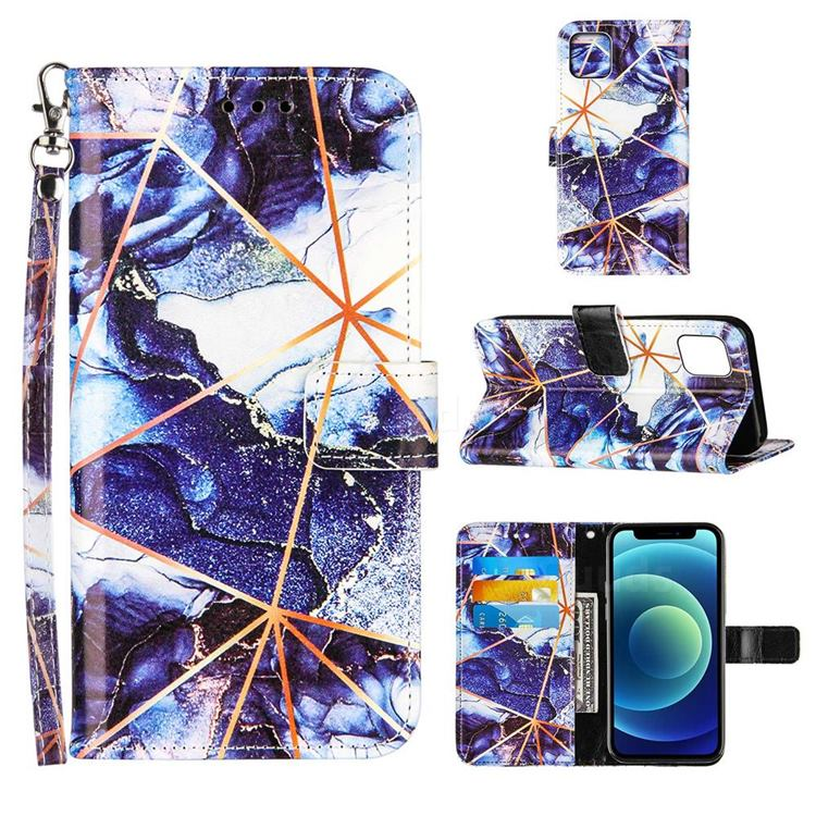 Starry Blue Stitching Color Marble Leather Wallet Case for iPhone 13 (6.1 inch)