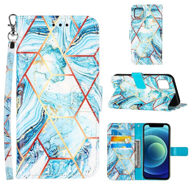 Lake Blue Stitching Color Marble Leather Wallet Case for iPhone 13 (6.1 inch)