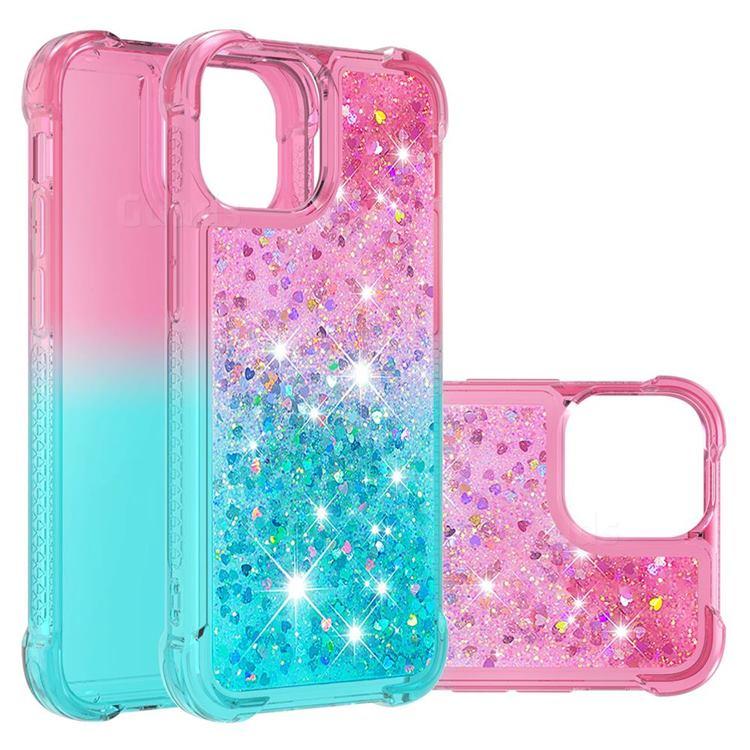 Rainbow Gradient Liquid Glitter Quicksand Sequins Phone Case for iPhone 13 (6.1 inch) - Pink Blue