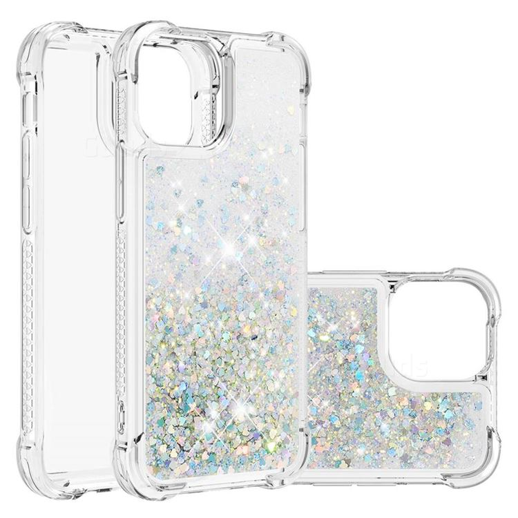 Dynamic Liquid Glitter Sand Quicksand Star TPU Case for iPhone 13 (6.1 inch) - Silver