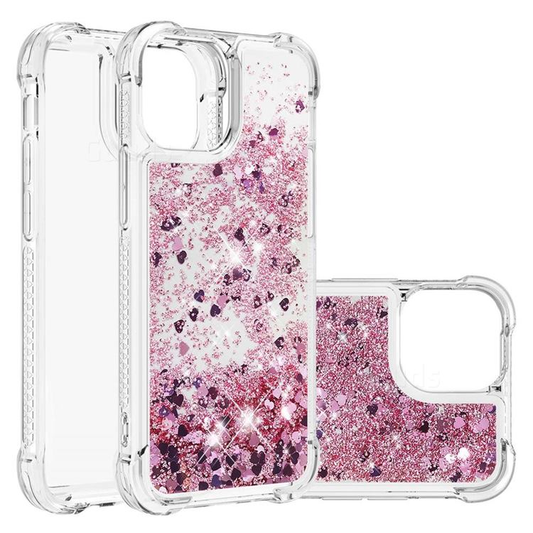 Dynamic Liquid Glitter Sand Quicksand Star TPU Case for iPhone 13 (6.1 inch) - Diamond Rose