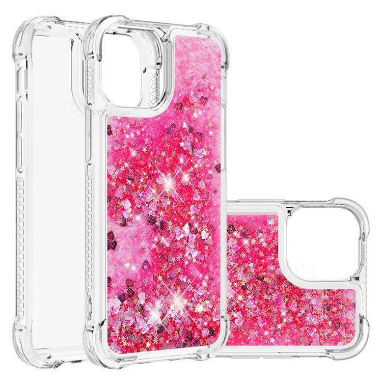 Dynamic Liquid Glitter Sand Quicksand TPU Case for iPhone 13 (6.1 inch) - Pink Love Heart