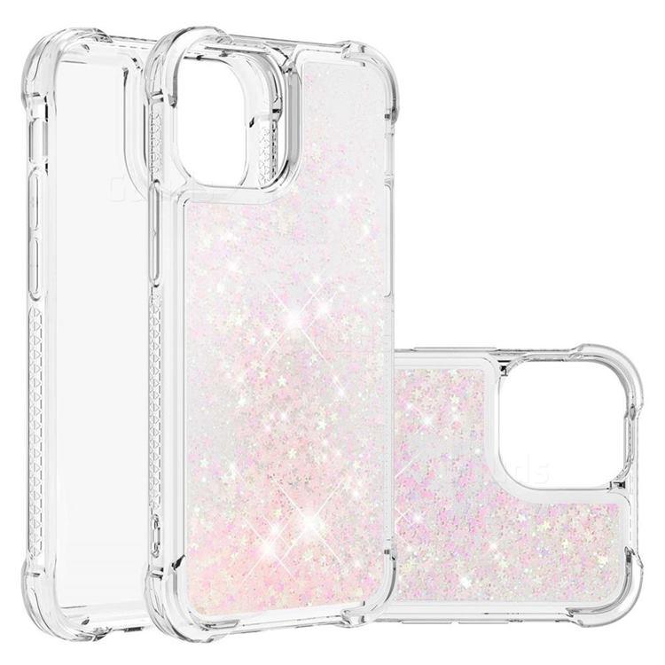 Dynamic Liquid Glitter Sand Quicksand TPU Case for iPhone 13 (6.1 inch) - Silver Powder Star