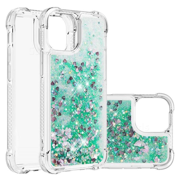 Dynamic Liquid Glitter Sand Quicksand TPU Case for iPhone 13 (6.1 inch) - Green Love Heart