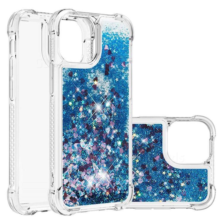 Dynamic Liquid Glitter Sand Quicksand TPU Case for iPhone 13 (6.1 inch) - Blue Love Heart