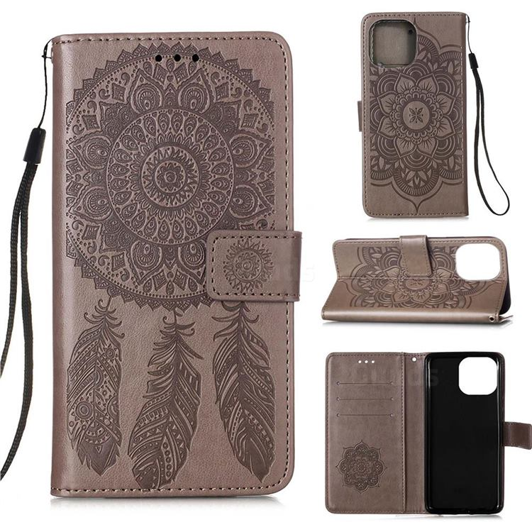Embossing Dream Catcher Mandala Flower Leather Wallet Case for iPhone 13 (6.1 inch) - Gray