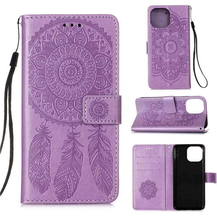 Embossing Dream Catcher Mandala Flower Leather Wallet Case for iPhone 13 (6.1 inch) - Purple