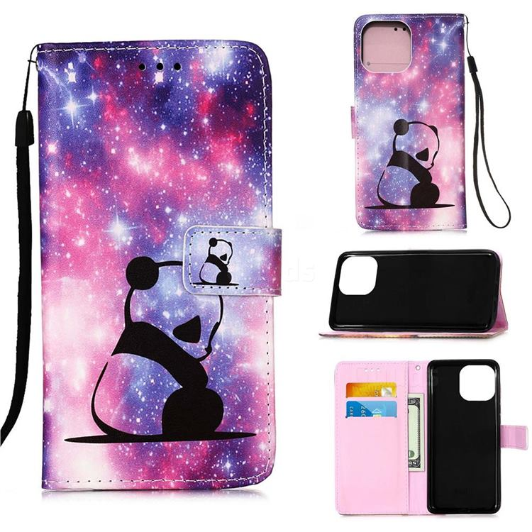 Panda Baby Matte Leather Wallet Phone Case for iPhone 13 (6.1 inch)