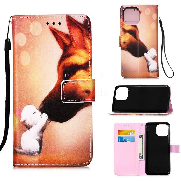 Hound Kiss Matte Leather Wallet Phone Case for iPhone 13 (6.1 inch)