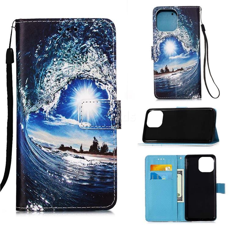 Waves and Sun Matte Leather Wallet Phone Case for iPhone 13 (6.1 inch)