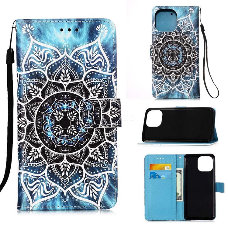 Underwater Mandala Matte Leather Wallet Phone Case for iPhone 13 (6.1 inch)