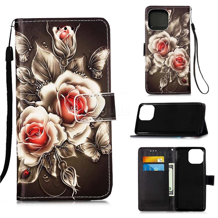 Black Rose Matte Leather Wallet Phone Case for iPhone 13 (6.1 inch)