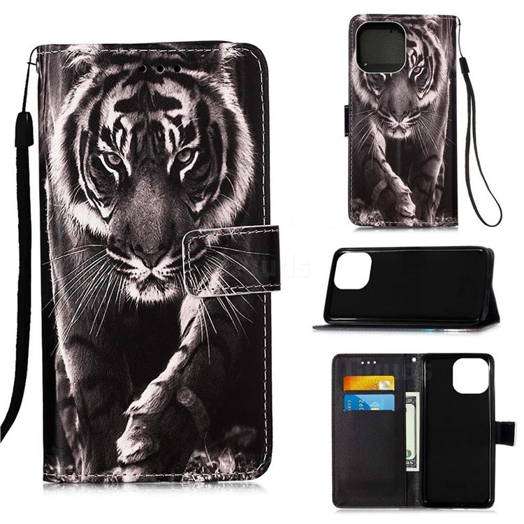 Black and White Tiger Matte Leather Wallet Phone Case for iPhone 13 (6.1 inch)
