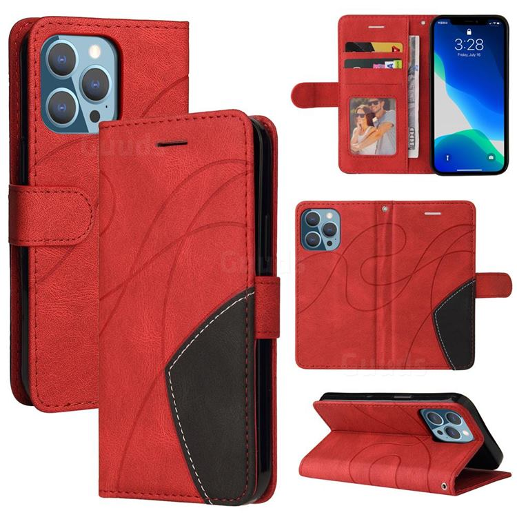 Luxury Two-color Stitching Leather Wallet Case Cover for iPhone 13 (6.1 inch) - Red