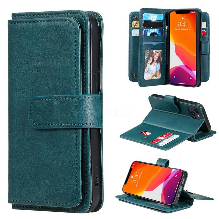 Multi-function Ten Card Slots and Photo Frame PU Leather Wallet Phone Case Cover for iPhone 13 (6.1 inch) - Dark Green
