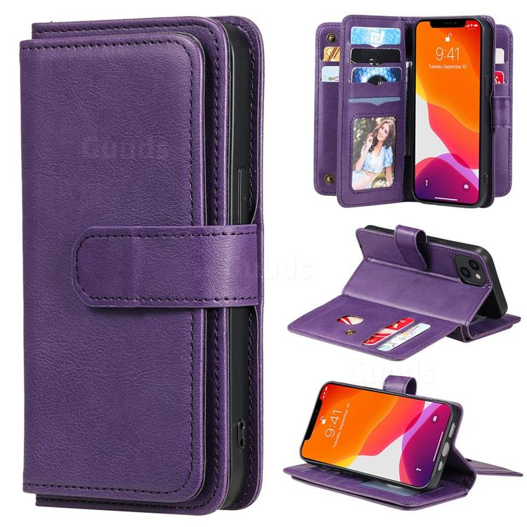 Multi-function Ten Card Slots and Photo Frame PU Leather Wallet Phone Case Cover for iPhone 13 (6.1 inch) - Violet
