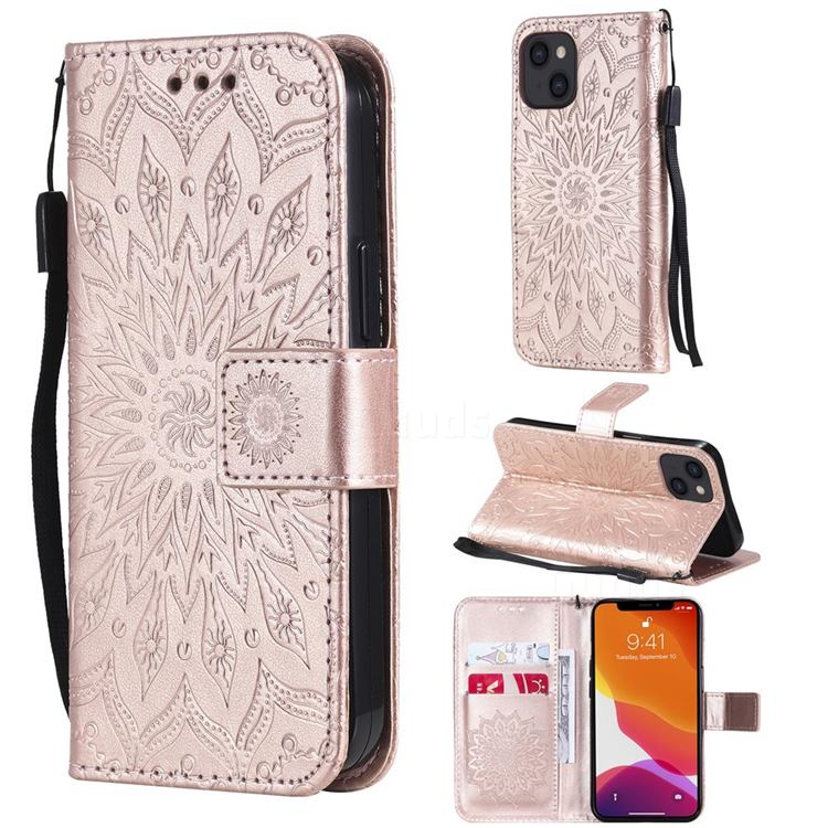 Embossing Sunflower Leather Wallet Case for iPhone 13 (6.1 inch) - Rose Gold