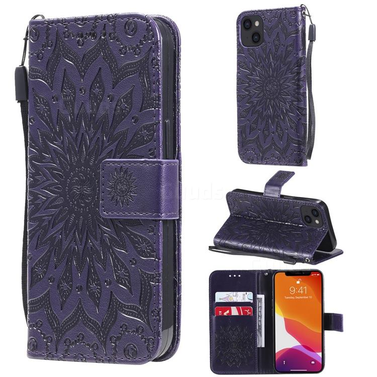 Embossing Sunflower Leather Wallet Case for iPhone 13 (6.1 inch) - Purple