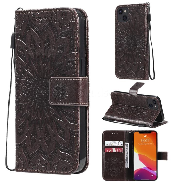 Embossing Sunflower Leather Wallet Case for iPhone 13 (6.1 inch) - Brown