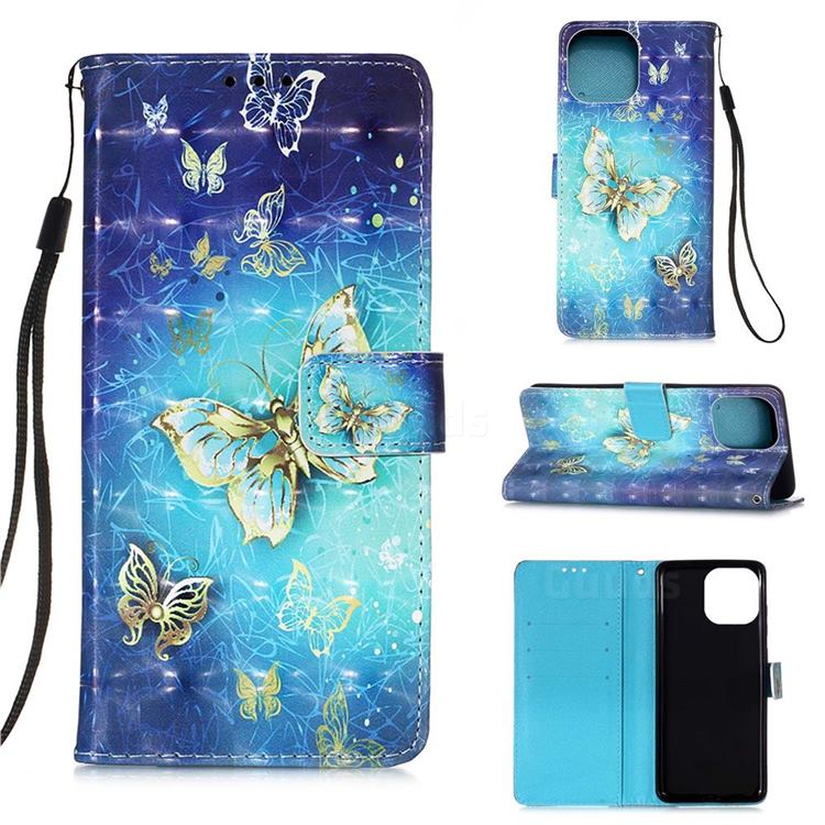 Gold Butterfly 3D Painted Leather Wallet Case for iPhone 13 (6.1 inch)