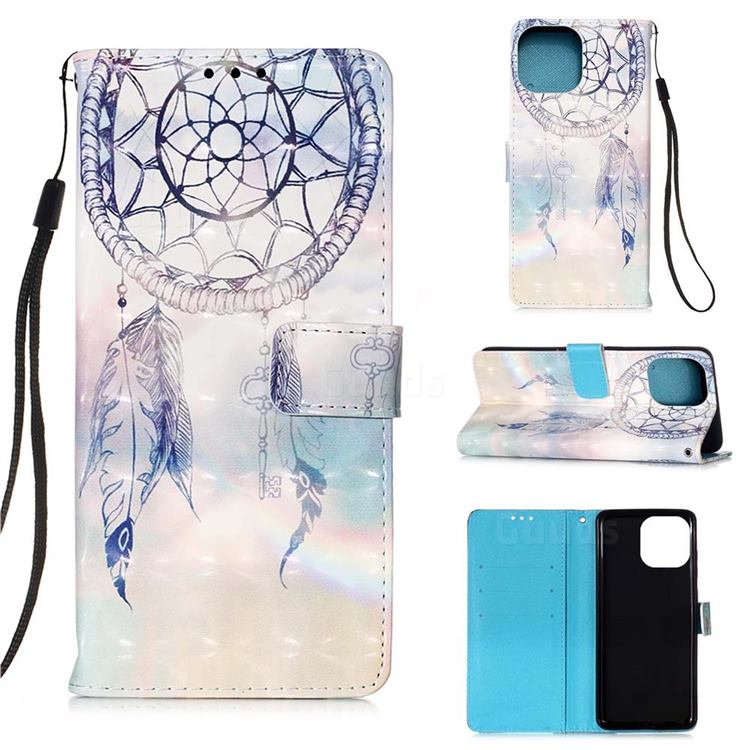 Fantasy Campanula 3D Painted Leather Wallet Case for iPhone 13 (6.1 inch)