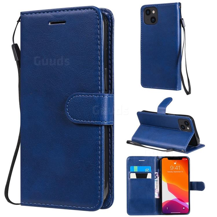 Retro Greek Classic Smooth PU Leather Wallet Phone Case for iPhone 13 (6.1 inch) - Blue