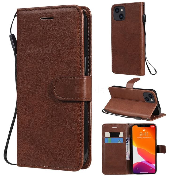 Retro Greek Classic Smooth PU Leather Wallet Phone Case for iPhone 13 (6.1 inch) - Brown