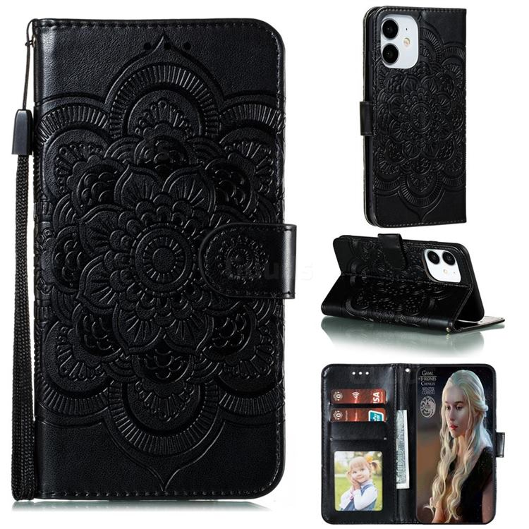 Intricate Embossing Datura Solar Leather Wallet Case for iPhone 13 mini (5.4 inch) - Black