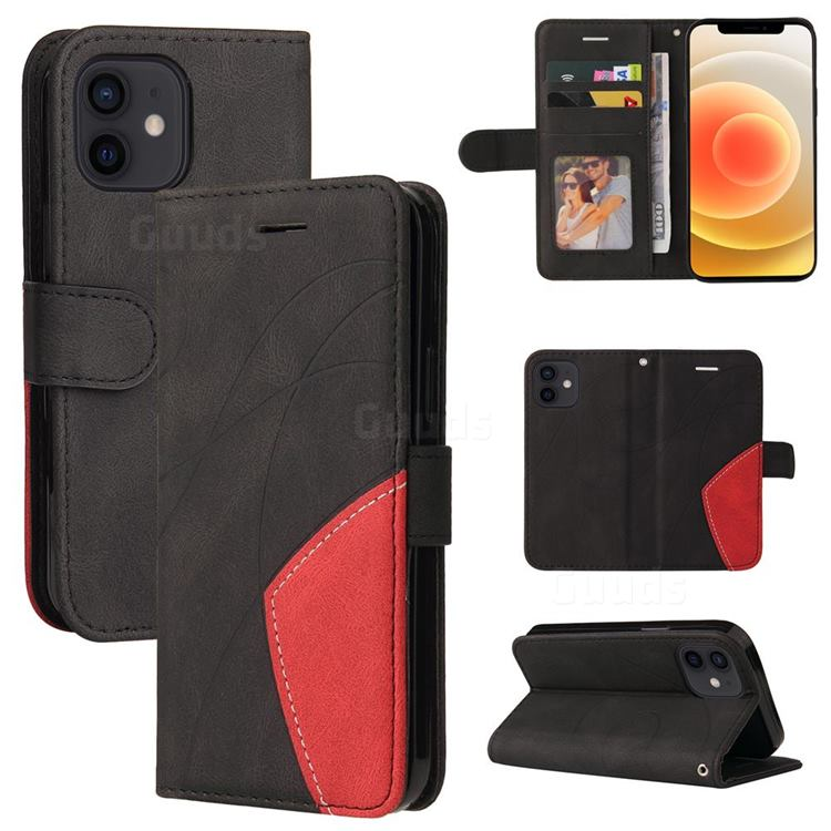 Luxury Two-color Stitching Leather Wallet Case Cover for iPhone 13 mini (5.4 inch) - Black