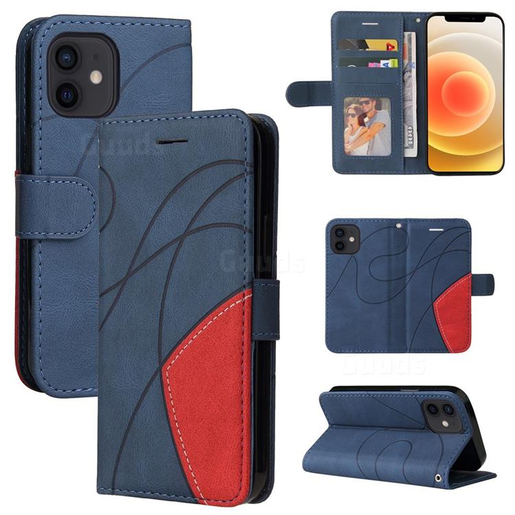 Luxury Two-color Stitching Leather Wallet Case Cover for iPhone 13 mini (5.4 inch) - Blue