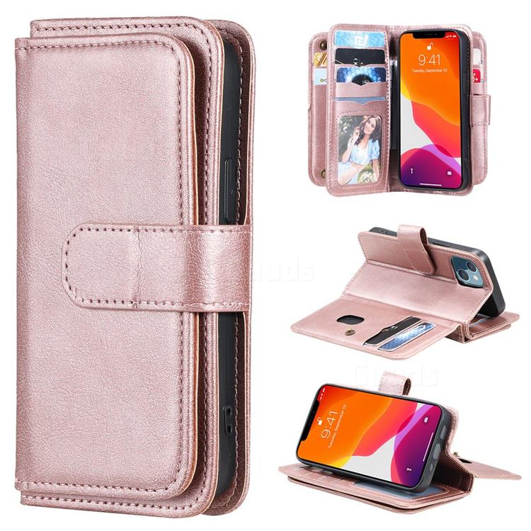 Multi-function Ten Card Slots and Photo Frame PU Leather Wallet Phone Case Cover for iPhone 13 mini (5.4 inch) - Rose Gold