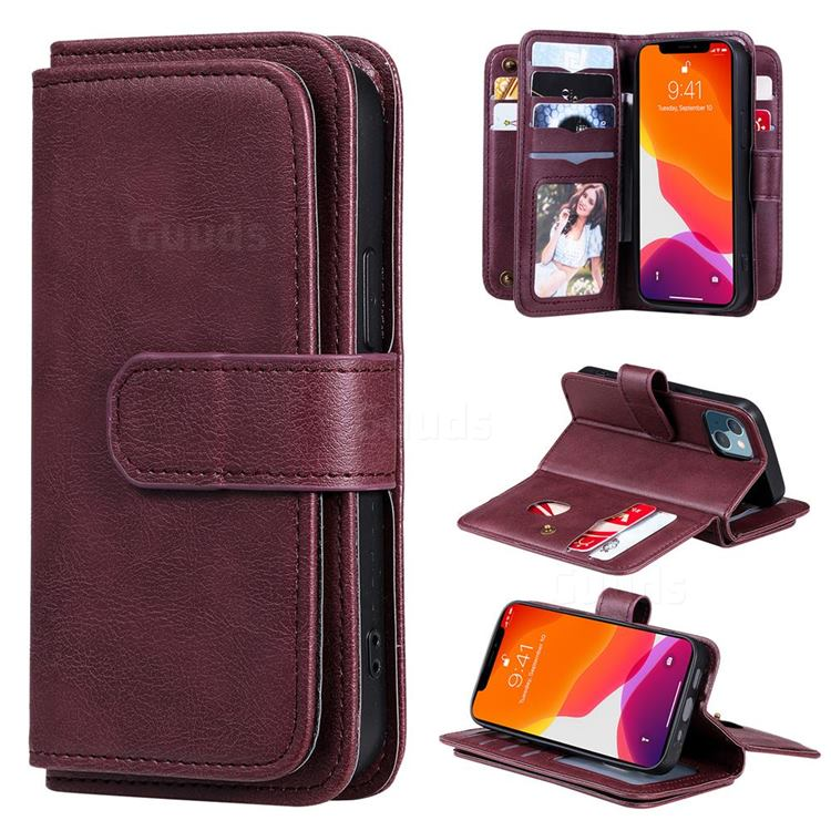 Multi-function Ten Card Slots and Photo Frame PU Leather Wallet Phone Case Cover for iPhone 13 mini (5.4 inch) - Claret