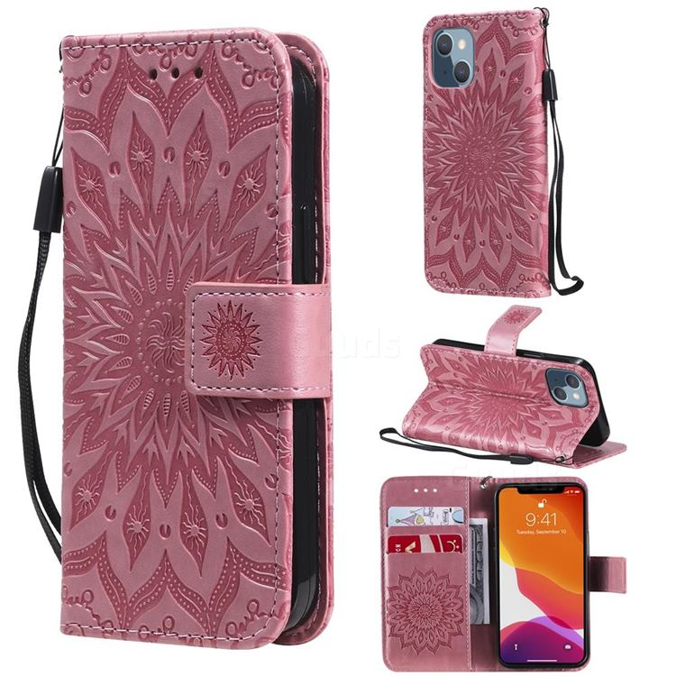 Embossing Sunflower Leather Wallet Case for iPhone 13 mini (5.4 inch) - Pink
