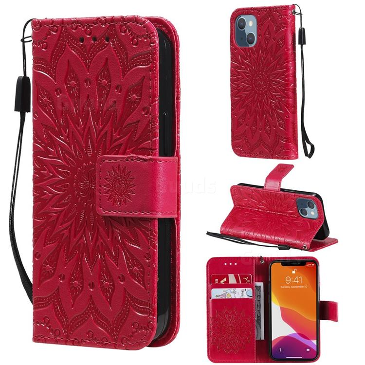 Embossing Sunflower Leather Wallet Case for iPhone 13 mini (5.4 inch) - Red