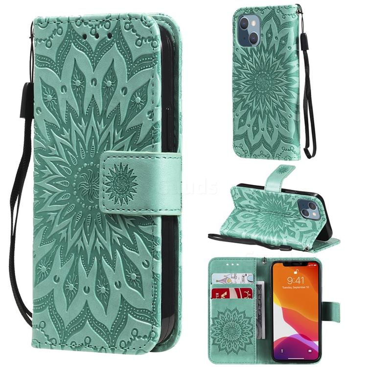 Embossing Sunflower Leather Wallet Case for iPhone 13 mini (5.4 inch) - Green