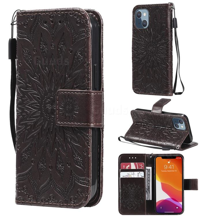 Embossing Sunflower Leather Wallet Case for iPhone 13 mini (5.4 inch) - Brown
